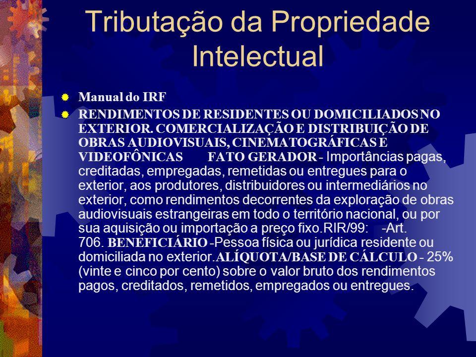 Tributação da Propriedade Intelectual Manual do IRF RENDIMENTOS DE RESIDENTES OU DOMICILIADOS NO EXTERIOR PELÍCULAS CINEMATOGRÁFICAS FATO GERADOR Impo