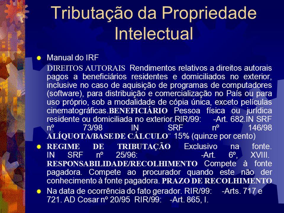 Tributação da Propriedade Intelectual Manual do IRF RENDIMENTOS DE RESIDENTES OU DOMICILIADOS NO EXTERIOR. COMERCIALIZAÇÃO E DISTRIBUIÇÃO DE OBRAS AUD
