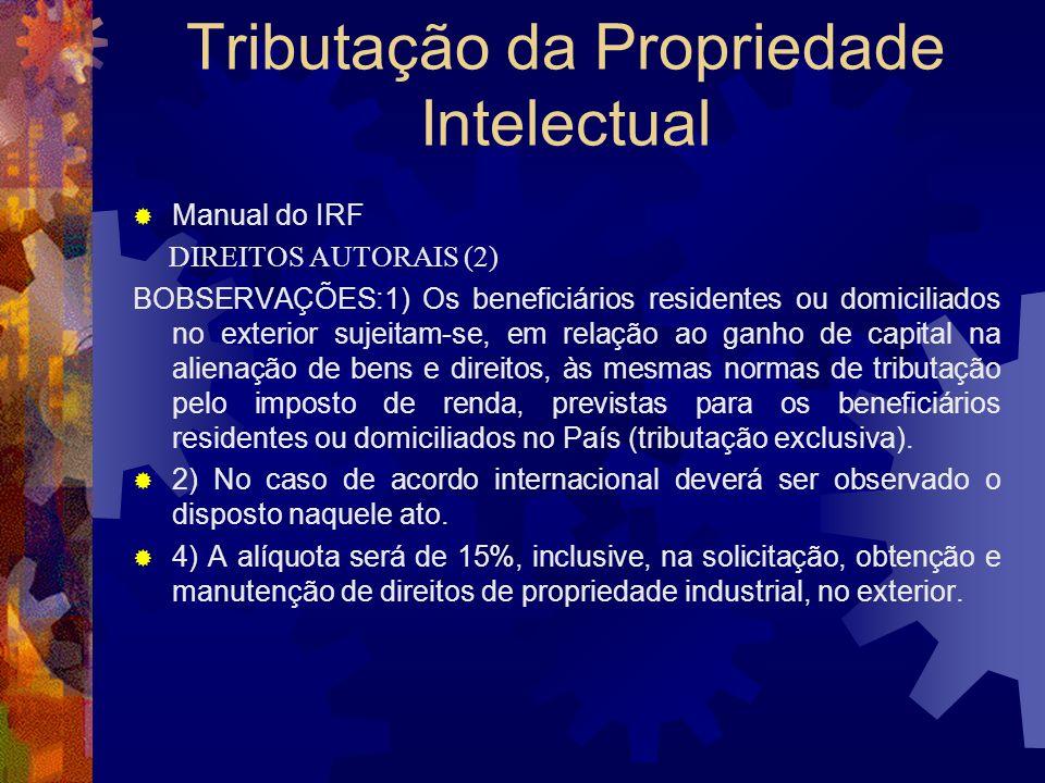 Tributação da Propriedade Intelectual Manual do IRF DIREITOS AUTORAIS Rendimentos relativos a direitos autorais pagos a beneficiários residentes e dom