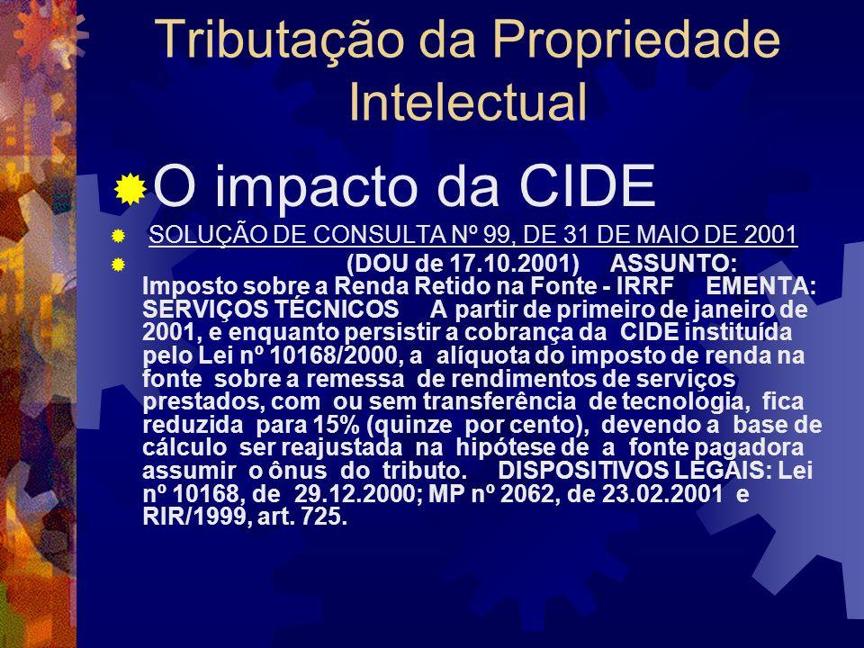 Tributação da Propriedade Intelectual O impacto da CIDE CIDE já era devida, sob a Lei n.º 10.168/00, pela pessoa jurídica detentora de licença de uso