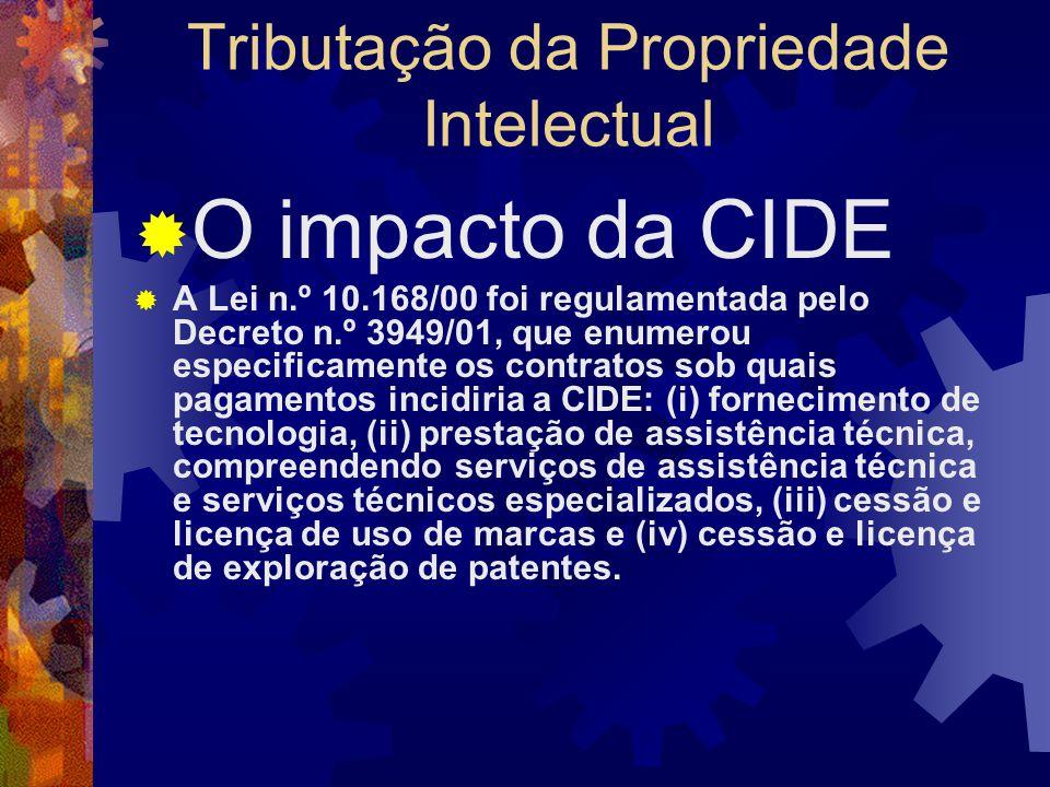 Tributação da Propriedade Intelectual O impacto da CIDE SOLUÇÃO DE CONSULTA Nº 99, DE 31 DE MAIO DE 2001 (DOU de 17.10.2001) ASSUNTO: Imposto sobre a