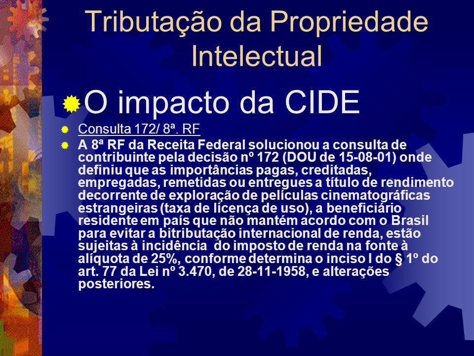 Tributação da Propriedade Intelectual O impacto da CIDE A Lei n.º 10.168/00 foi regulamentada pelo Decreto n.º 3949/01, que enumerou especificamente o