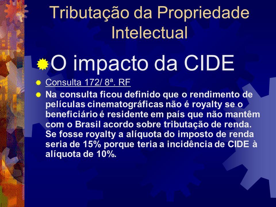 Tributação da Propriedade Intelectual O impacto da CIDE Consulta 172/ 8ª. RF A 8ª RF da Receita Federal solucionou a consulta de contribuinte pela dec