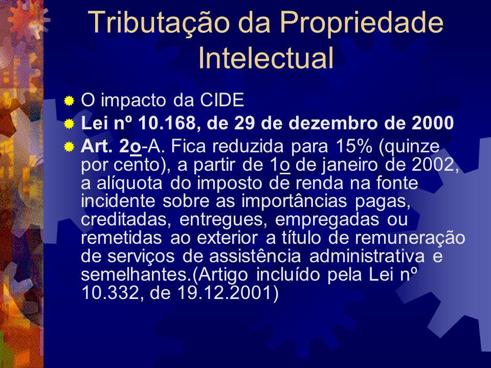 Tributação da Propriedade Intelectual O impacto da CIDE Nova lei promulgada em 19 de dezembro de 2001, Lei n.º 10.332/01, a CIDE passou a ser devida t