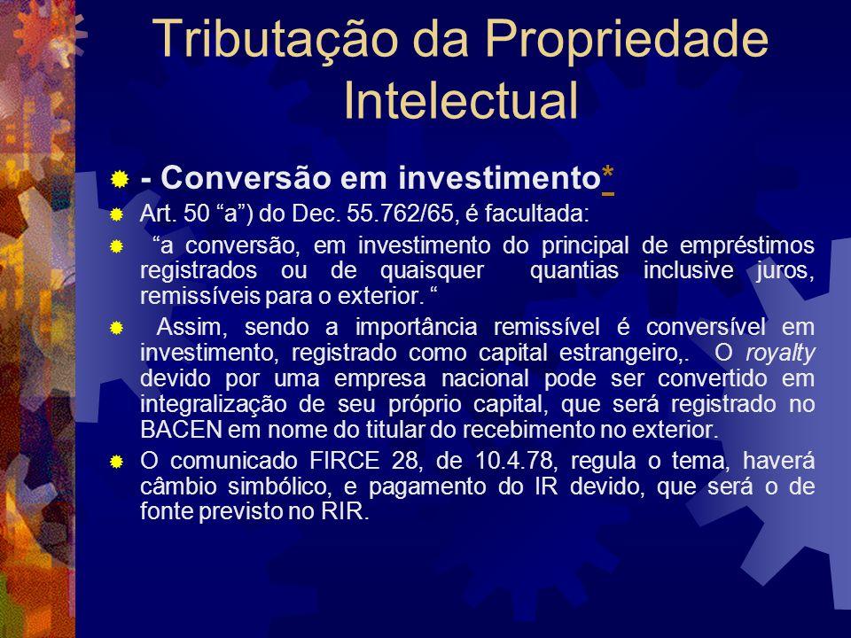 Tributação da Propriedade Intelectual O impacto da CIDE Lei nº 10.168, de 29 de dezembro de 2000 Art. 2o-A. Fica reduzida para 15% (quinze por cento),