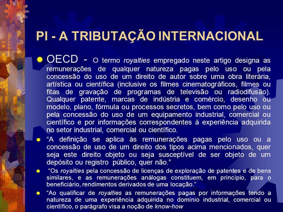 PI - A TRIBUTAÇÃO INTERNACIONAL - A tributação da propriedade industrial e do comércio de tecnologia no modelo da OECD a) Aplicação quanto às pessoas