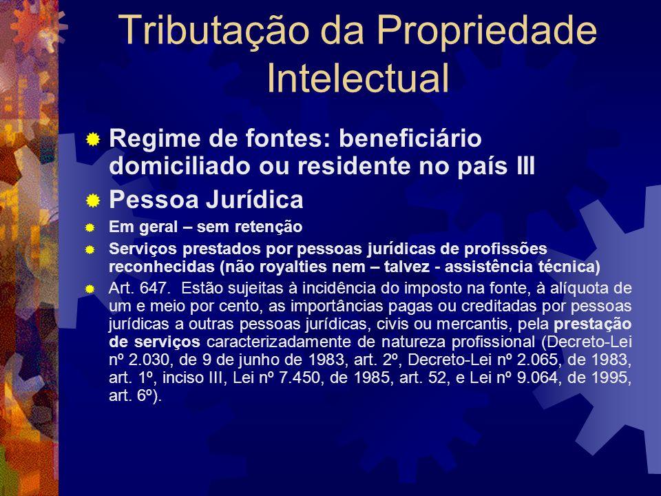 Tributação da Propriedade Intelectual Regime de fontes: beneficiário domiciliado ou residente no país II Pessoa Física Art. 631. Estão sujeitos à inci
