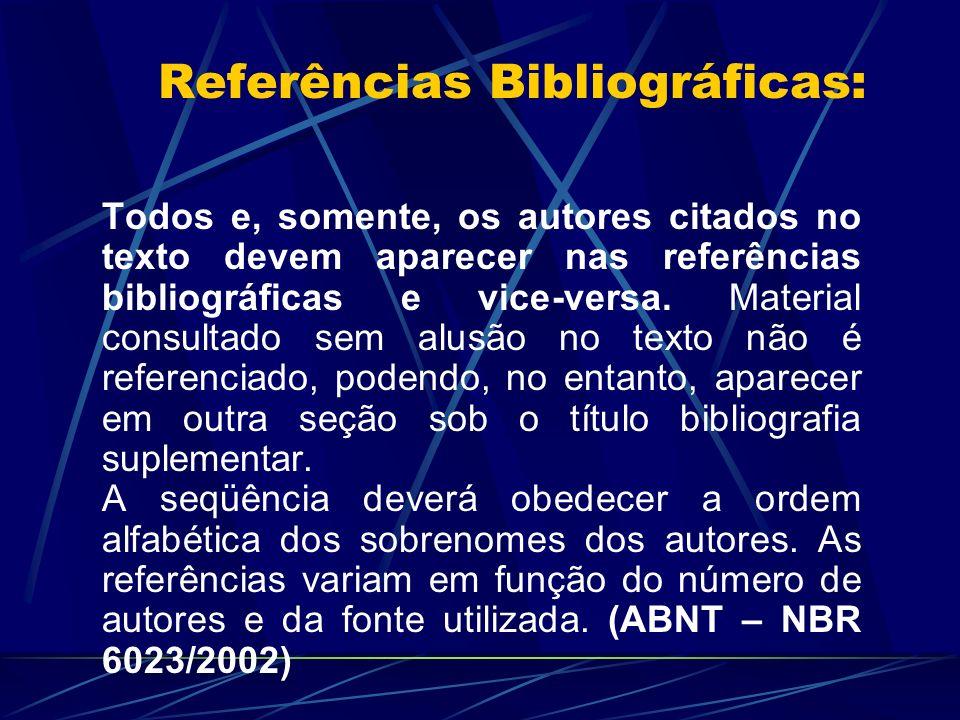 Referências Bibliográficas: Todos e, somente, os autores citados no texto devem aparecer nas referências bibliográficas e vice-versa. Material consult