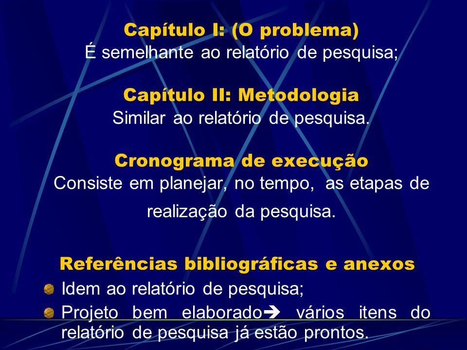 Capítulo I: (O problema) É semelhante ao relatório de pesquisa; Capítulo II: Metodologia Similar ao relatório de pesquisa. Cronograma de execução Cons