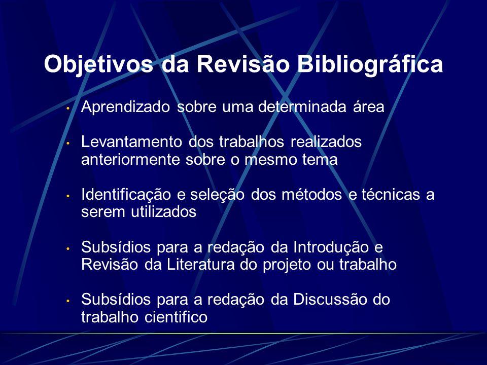 Objetivos da Revisão Bibliográfica Aprendizado sobre uma determinada área Levantamento dos trabalhos realizados anteriormente sobre o mesmo tema Ident