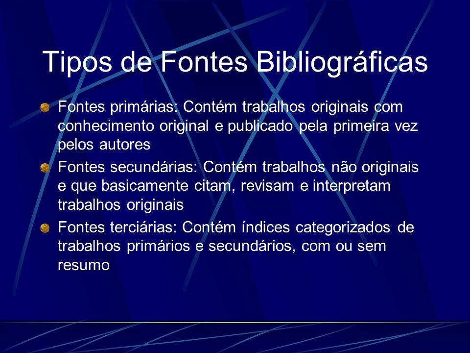 Tipos de Fontes Bibliográficas Fontes primárias: Contém trabalhos originais com conhecimento original e publicado pela primeira vez pelos autores Font