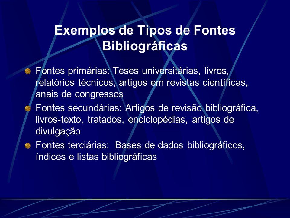 Exemplos de Tipos de Fontes Bibliográficas Fontes primárias: Teses universitárias, livros, relatórios técnicos, artigos em revistas científicas, anais