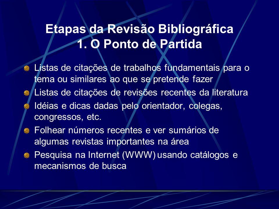 Etapas da Revisão Bibliográfica 1. O Ponto de Partida Listas de citações de trabalhos fundamentais para o tema ou similares ao que se pretende fazer L