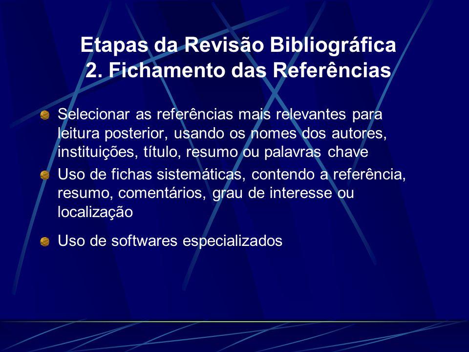 Etapas da Revisão Bibliográfica 2. Fichamento das Referências Selecionar as referências mais relevantes para leitura posterior, usando os nomes dos au