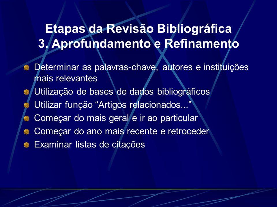 Etapas da Revisão Bibliográfica 3. Aprofundamento e Refinamento Determinar as palavras-chave, autores e instituições mais relevantes Utilização de bas