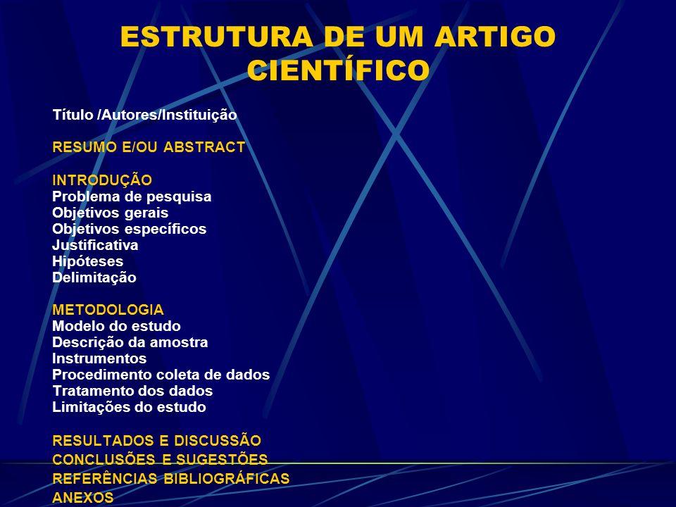 ESTRUTURA DE UM ARTIGO CIENTÍFICO Título /Autores/Instituição RESUMO E/OU ABSTRACT INTRODUÇÃO Problema de pesquisa Objetivos gerais Objetivos específi