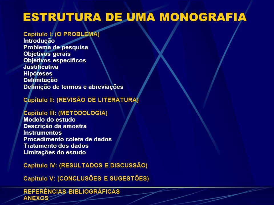 ESTRUTURA DE UMA MONOGRAFIA Capítulo I: (O PROBLEMA) Introdução Problema de pesquisa Objetivos gerais Objetivos específicos Justificativa Hipóteses De