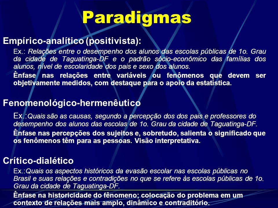 Paradigmas Empírico-analítico (positivista): Ex.: Relações entre o desempenho dos alunos das escolas públicas de 1o. Grau da cidade de Taguatinga-DF e