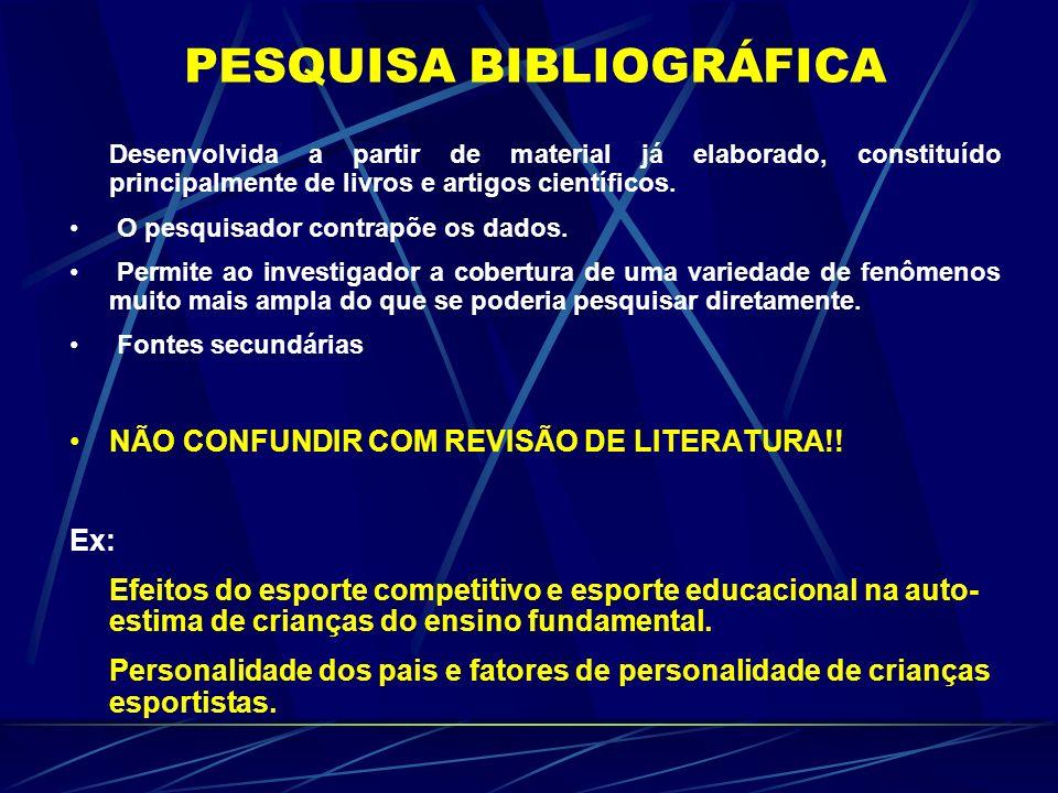 PESQUISA BIBLIOGRÁFICA Desenvolvida a partir de material já elaborado, constituído principalmente de livros e artigos científicos. O pesquisador contr