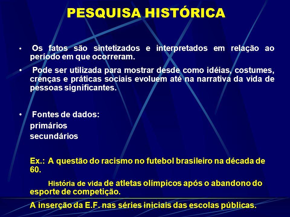 PESQUISA HISTÓRICA Os fatos são sintetizados e interpretados em relação ao período em que ocorreram. Pode ser utilizada para mostrar desde como idéias