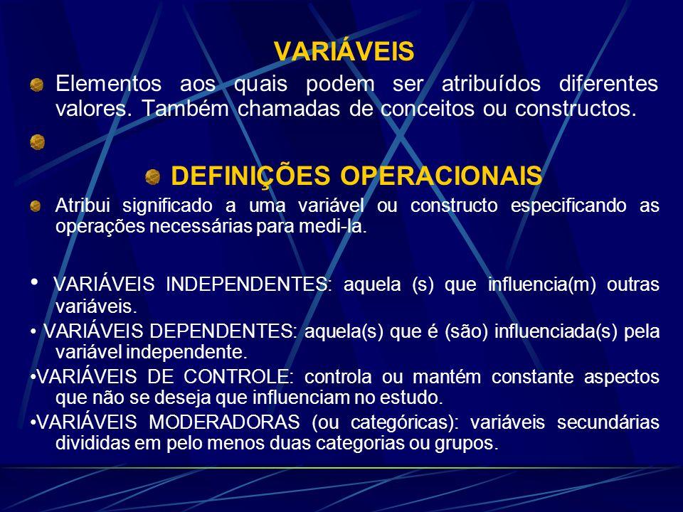 VARIÁVEIS Elementos aos quais podem ser atribuídos diferentes valores. Também chamadas de conceitos ou constructos. DEFINIÇÕES OPERACIONAIS Atribui si