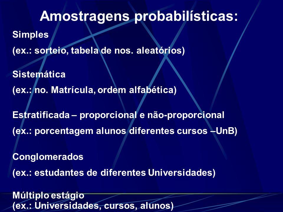 Amostragens probabilísticas: Simples (ex.: sorteio, tabela de nos. aleatórios) Sistemática (ex.: no. Matrícula, ordem alfabética) Estratificada – prop