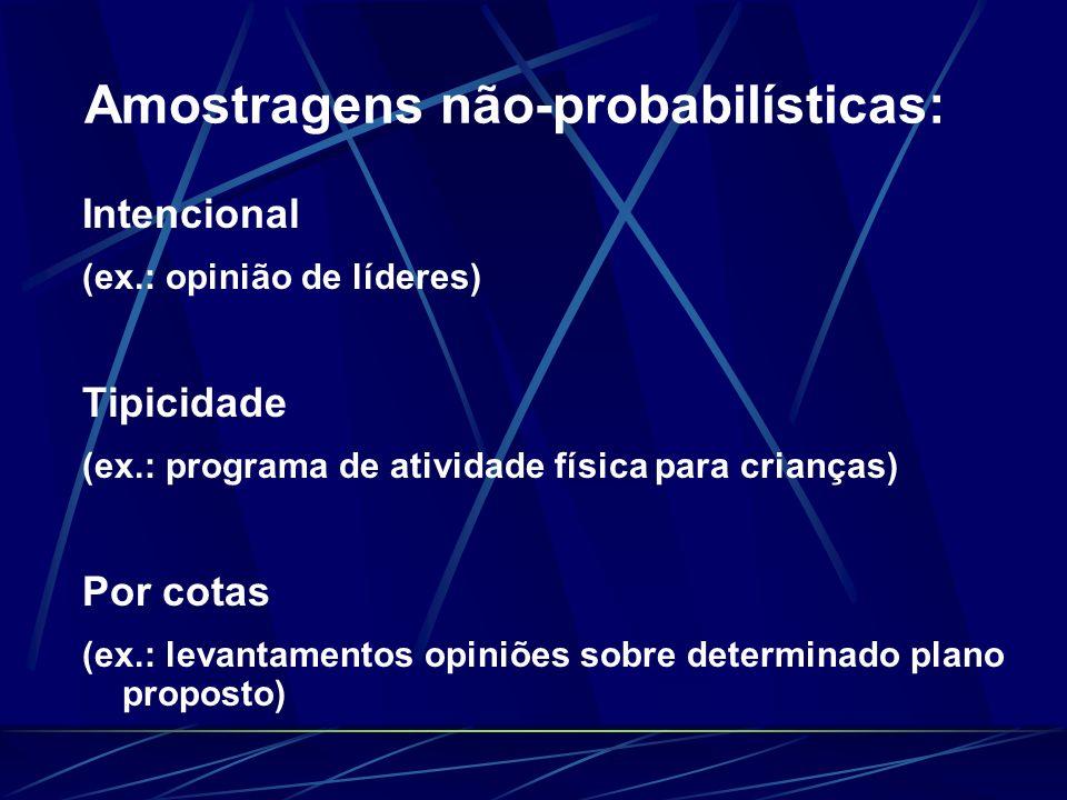 Amostragens não-probabilísticas: Intencional (ex.: opinião de líderes) Tipicidade (ex.: programa de atividade física para crianças) Por cotas (ex.: le