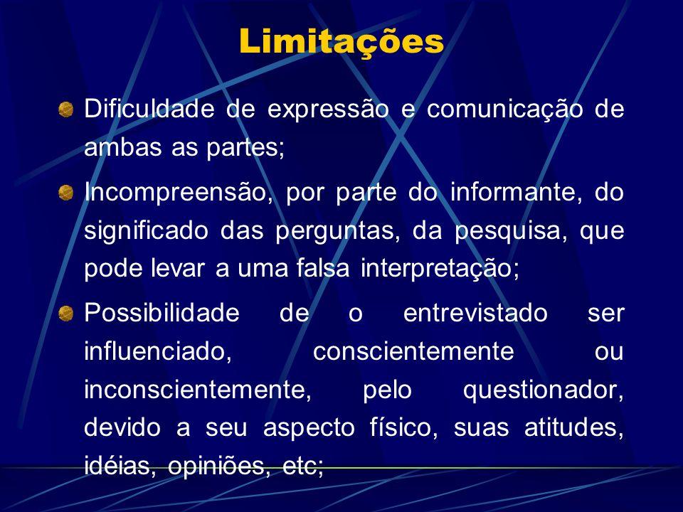 Limitações Dificuldade de expressão e comunicação de ambas as partes; Incompreensão, por parte do informante, do significado das perguntas, da pesquis