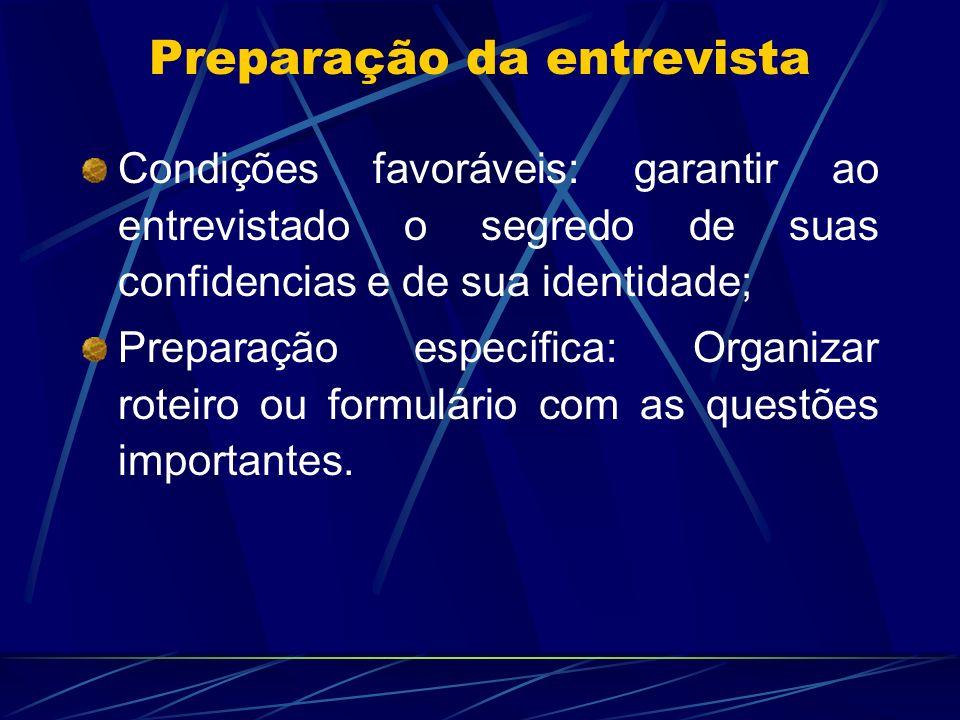 Condições favoráveis: garantir ao entrevistado o segredo de suas confidencias e de sua identidade; Preparação específica: Organizar roteiro ou formulá