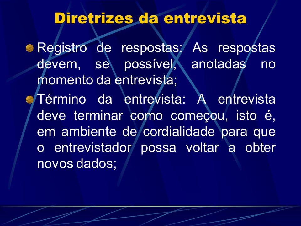 Registro de respostas: As respostas devem, se possível, anotadas no momento da entrevista; Término da entrevista: A entrevista deve terminar como come