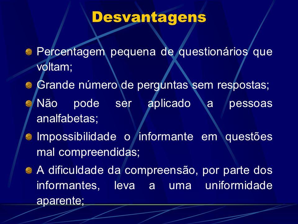Desvantagens Percentagem pequena de questionários que voltam; Grande número de perguntas sem respostas; Não pode ser aplicado a pessoas analfabetas; I