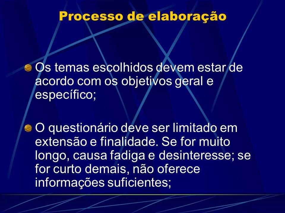 Processo de elaboração Os temas escolhidos devem estar de acordo com os objetivos geral e específico; O questionário deve ser limitado em extensão e f