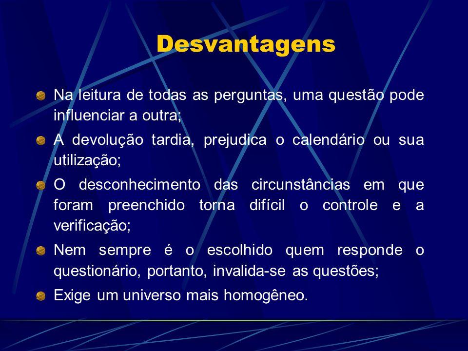 Desvantagens Na leitura de todas as perguntas, uma questão pode influenciar a outra; A devolução tardia, prejudica o calendário ou sua utilização; O d