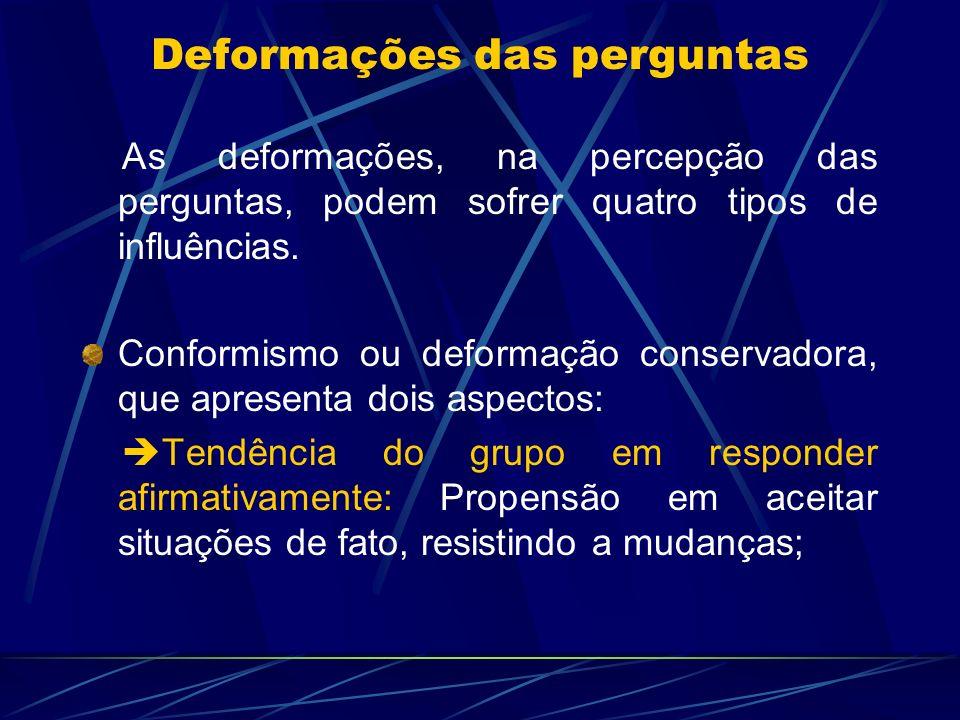 As deformações, na percepção das perguntas, podem sofrer quatro tipos de influências. Conformismo ou deformação conservadora, que apresenta dois aspec