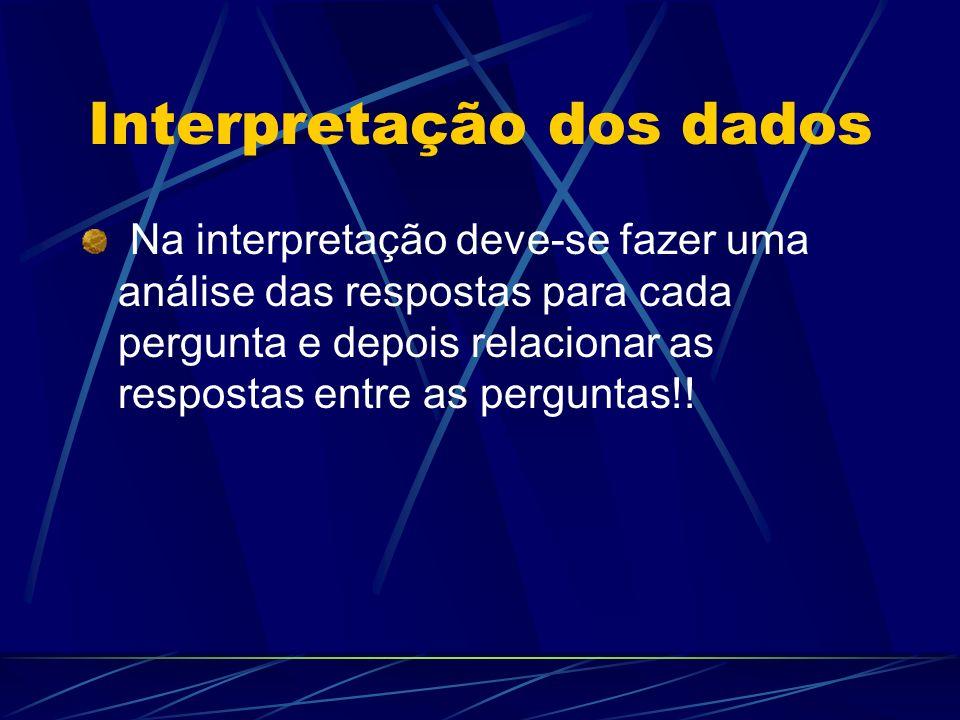 Interpretação dos dados Na interpretação deve-se fazer uma análise das respostas para cada pergunta e depois relacionar as respostas entre as pergunta