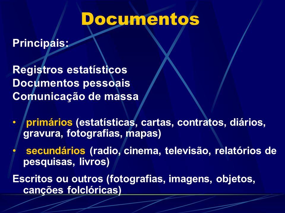 Documentos Principais: Registros estatísticos Documentos pessoais Comunicação de massa primários (estatísticas, cartas, contratos, diários, gravura, f