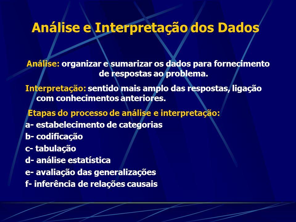 Análise e Interpretação dos Dados Análise: organizar e sumarizar os dados para fornecimento de respostas ao problema. Interpretação: sentido mais ampl