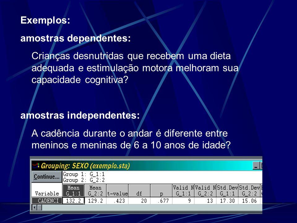 Exemplos: amostras dependentes: Crianças desnutridas que recebem uma dieta adequada e estimulação motora melhoram sua capacidade cognitiva? amostras i