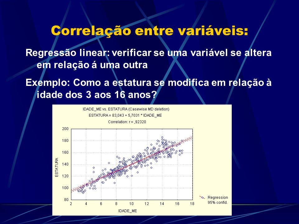 Correlação entre variáveis: Regressão linear: verificar se uma variável se altera em relação á uma outra Exemplo: Como a estatura se modifica em relaç