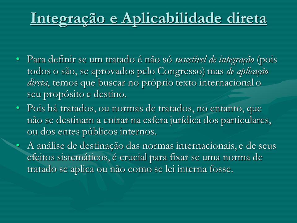 Integração e Aplicabilidade direta Para definir se um tratado é não só suscetível de integração (pois todos o são, se aprovados pelo Congresso) mas de