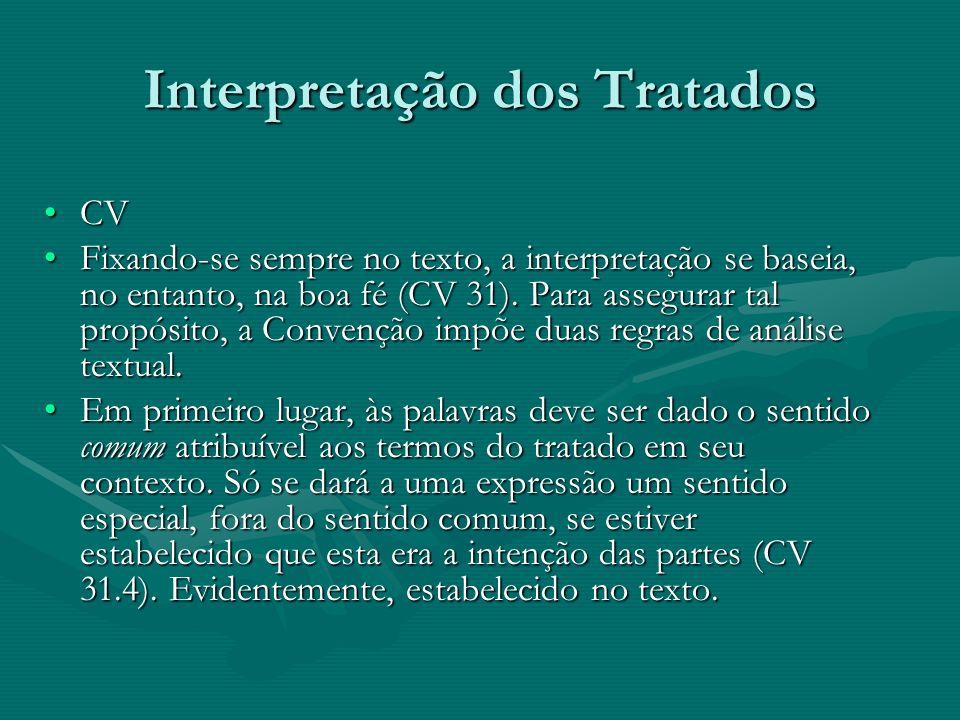 Interpretação dos Tratados CVCV Fixando-se sempre no texto, a interpretação se baseia, no entanto, na boa fé (CV 31). Para assegurar tal propósito, a