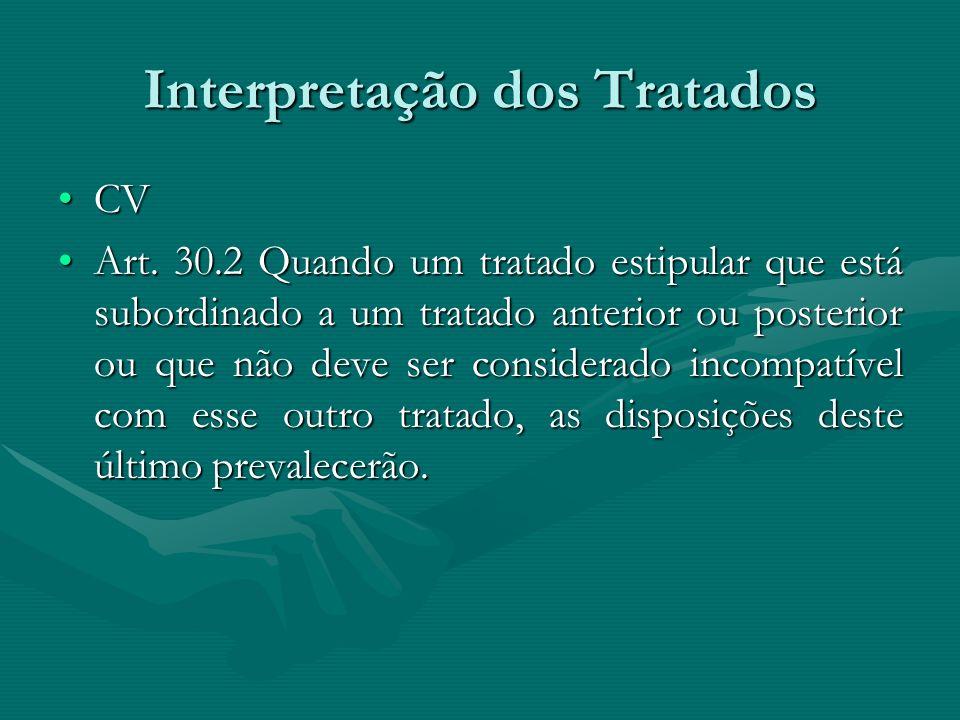 Interpretação dos Tratados CVCV Art. 30.2 Quando um tratado estipular que está subordinado a um tratado anterior ou posterior ou que não deve ser cons