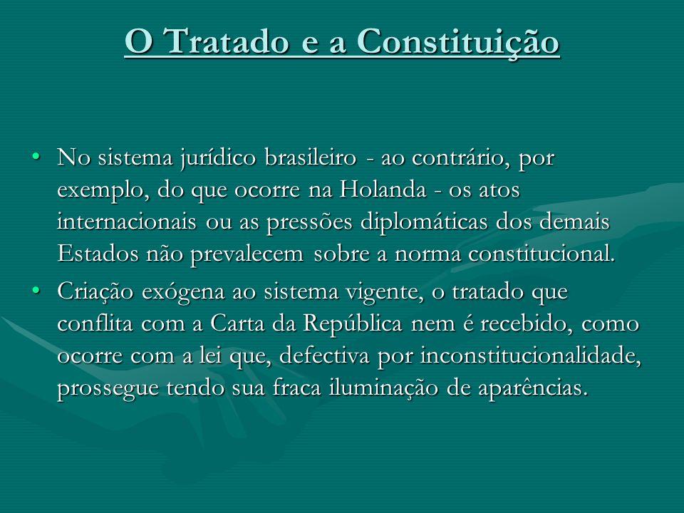 O Tratado e a Constituição No sistema jurídico brasileiro - ao contrário, por exemplo, do que ocorre na Holanda - os atos internacionais ou as pressõe