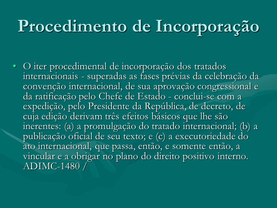 Procedimento de Incorporação O iter procedimental de incorporação dos tratados internacionais - superadas as fases prévias da celebração da convenção