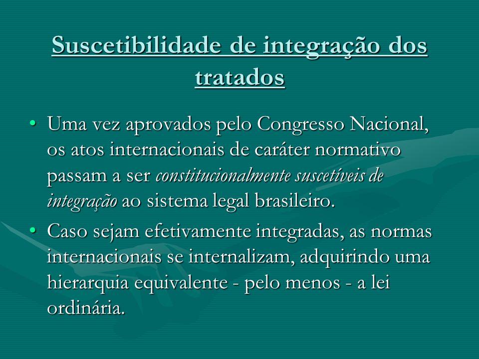 Suscetibilidade de integração dos tratados Uma vez aprovados pelo Congresso Nacional, os atos internacionais de caráter normativo passam a ser constit