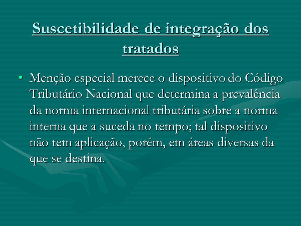 Suscetibilidade de integração dos tratados Menção especial merece o dispositivo do Código Tributário Nacional que determina a prevalência da norma int