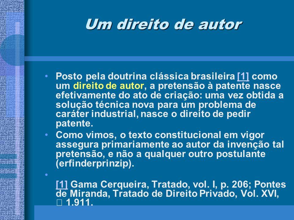 Um direito de autor Posto pela doutrina clássica brasileira [1] como um direito de autor, a pretensão à patente nasce efetivamente do ato de criação: