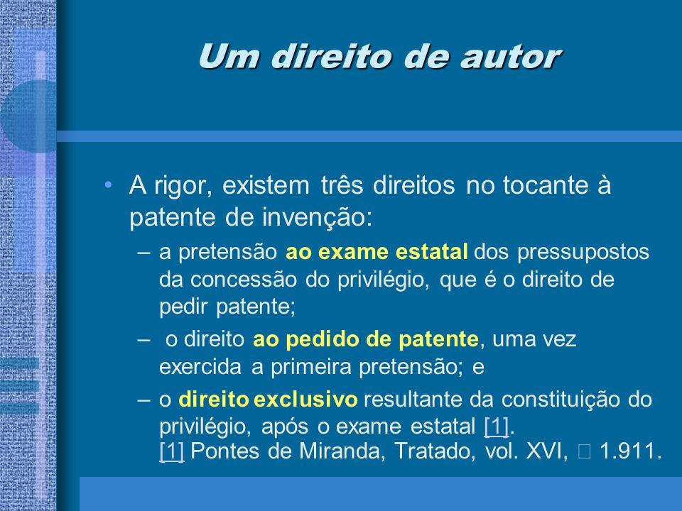 Um direito de autor A rigor, existem três direitos no tocante à patente de invenção: –a pretensão ao exame estatal dos pressupostos da concessão do pr