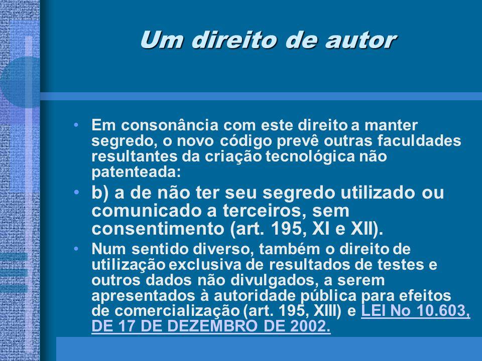 Direitos resultantes da autoria do invento O direito de pedir patente.