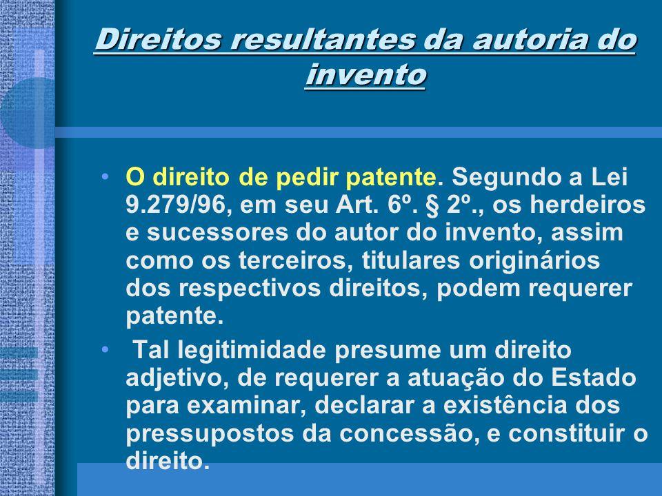 Direitos resultantes da autoria do invento O direito de pedir patente. Segundo a Lei 9.279/96, em seu Art. 6º. § 2º., os herdeiros e sucessores do aut